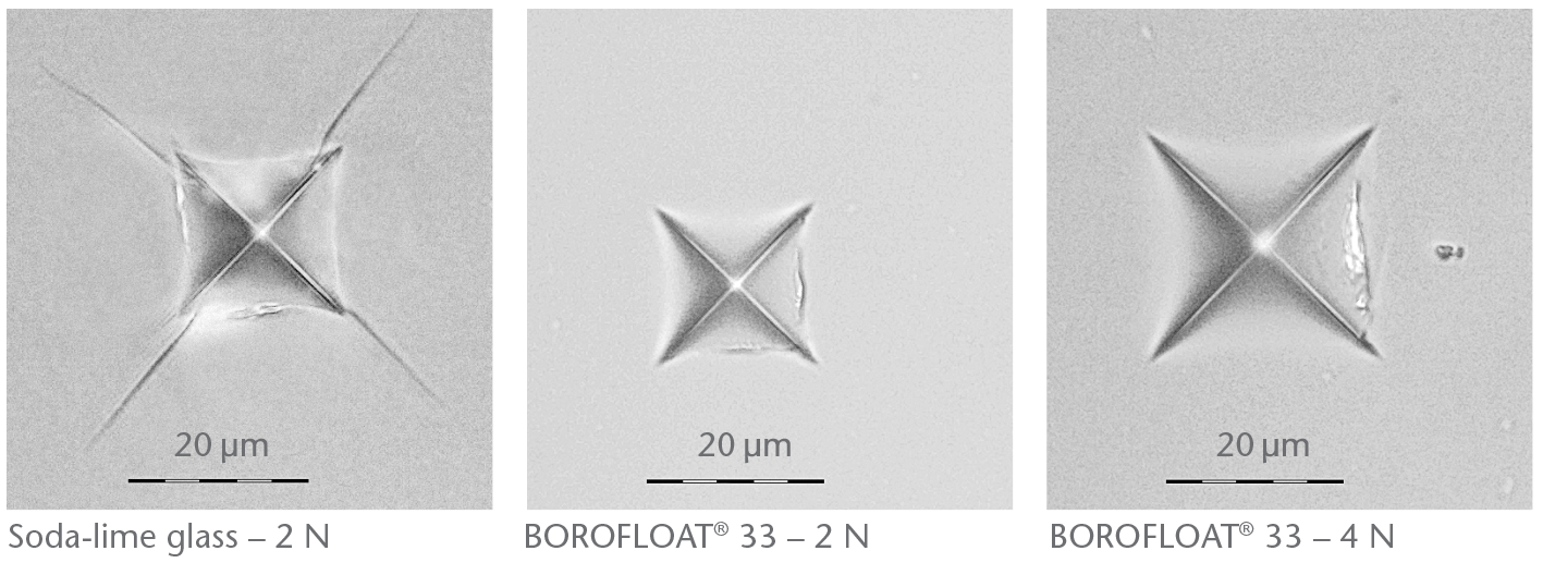 Vickers hardness test to observe BOROFLOAT® ability to resist deformation compared to standard soda-lime glass