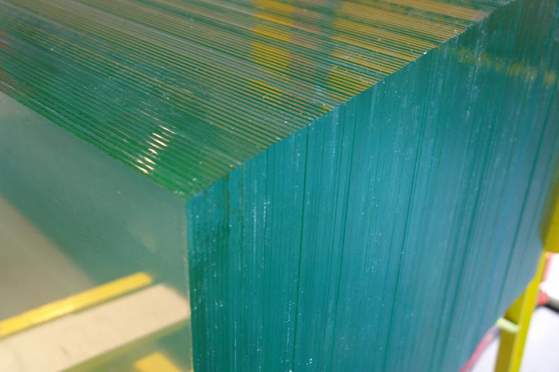 Row of stacked clear glass panels